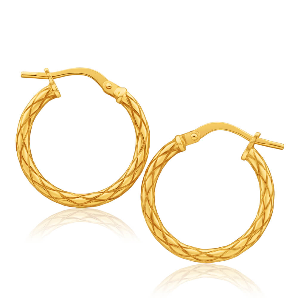 9ct Yellow Gold Silver Filled Patterned 15mm Hoop Earrings