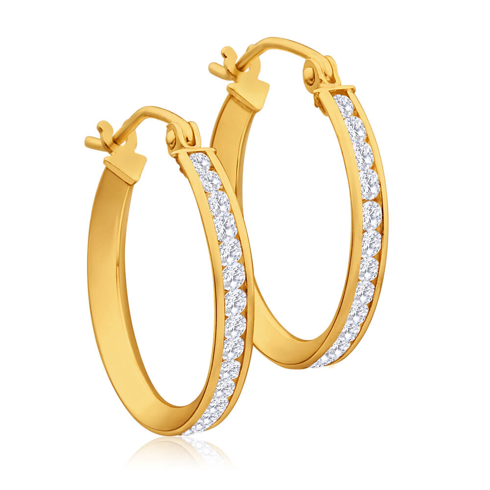 9ct Yellow Gold Silver Filled Cubic Zirconia 18mm Hoop Earrings