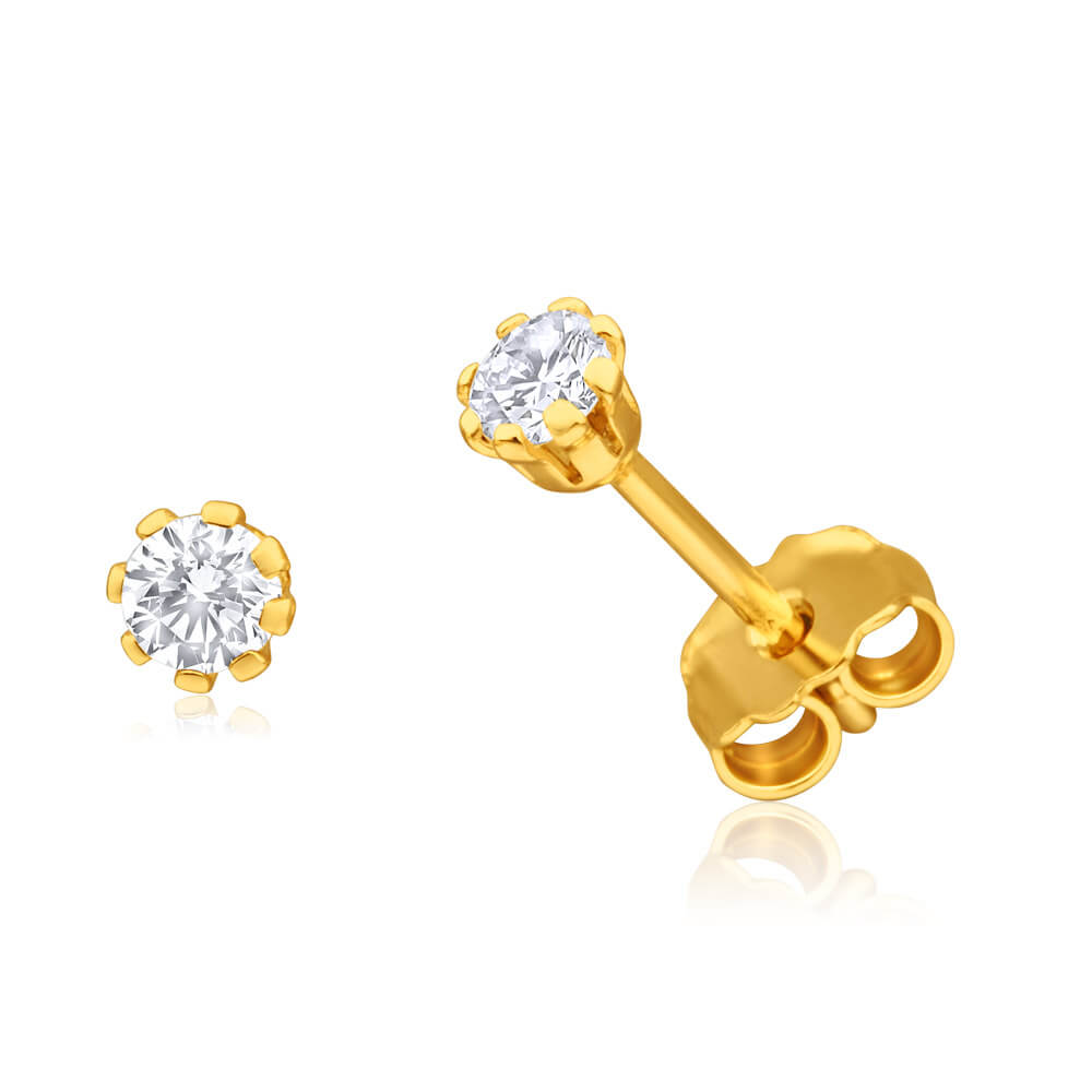 9ct Yellow Gold Silver Filled Cubic Zirconia Claw Stud Earrings