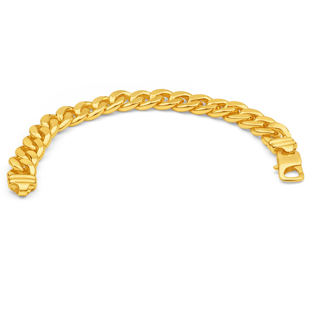 9ct Yellow Gold Silver Filled 21cm Curb Bracelet