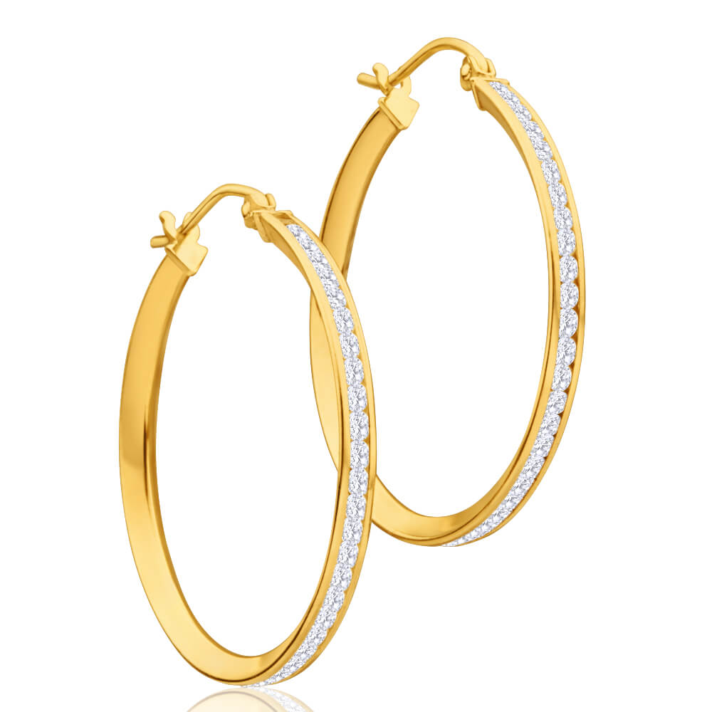 9ct Yellow Gold Silver Filled Cubic Zirconia 28mm Hoop Earrings
