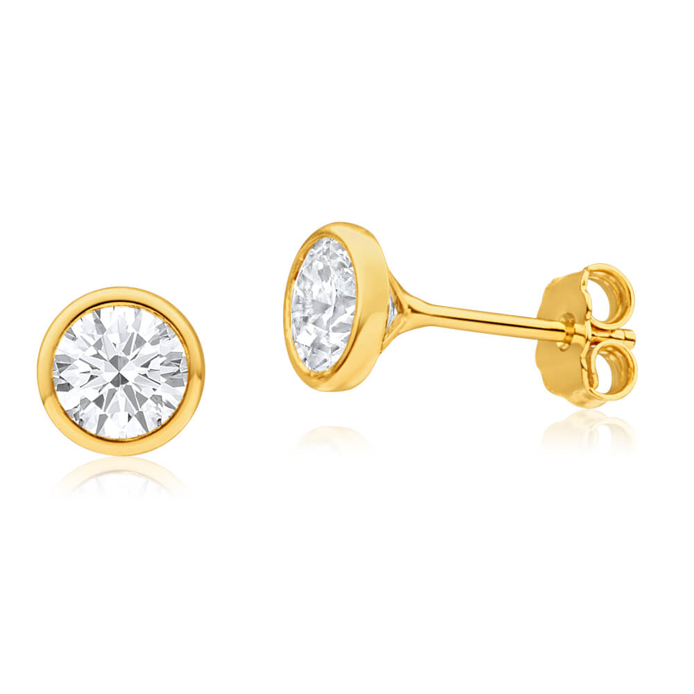 9ct Yellow Gold Silver Filled Cubic Zirconia Simple Round Stud Earrings