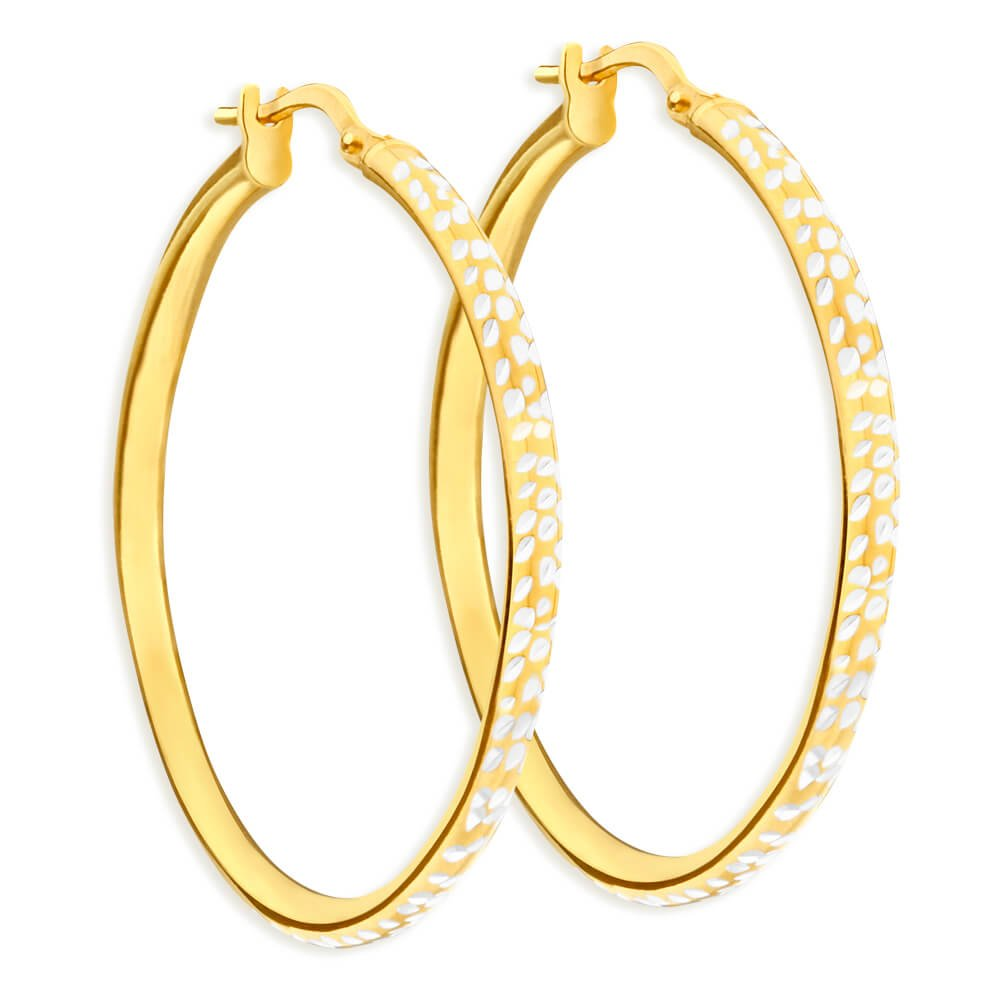 9ct Yellow Gold Silver Filled 30mm Hoop Earrings with diamond cut feature