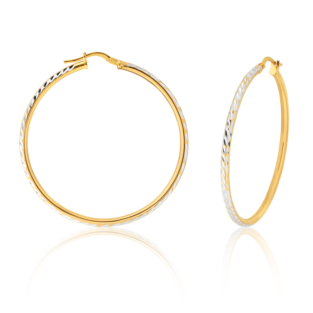 9ct Yellow Gold Silver Filled 40mm Hoop Earrings with diamond cut feature