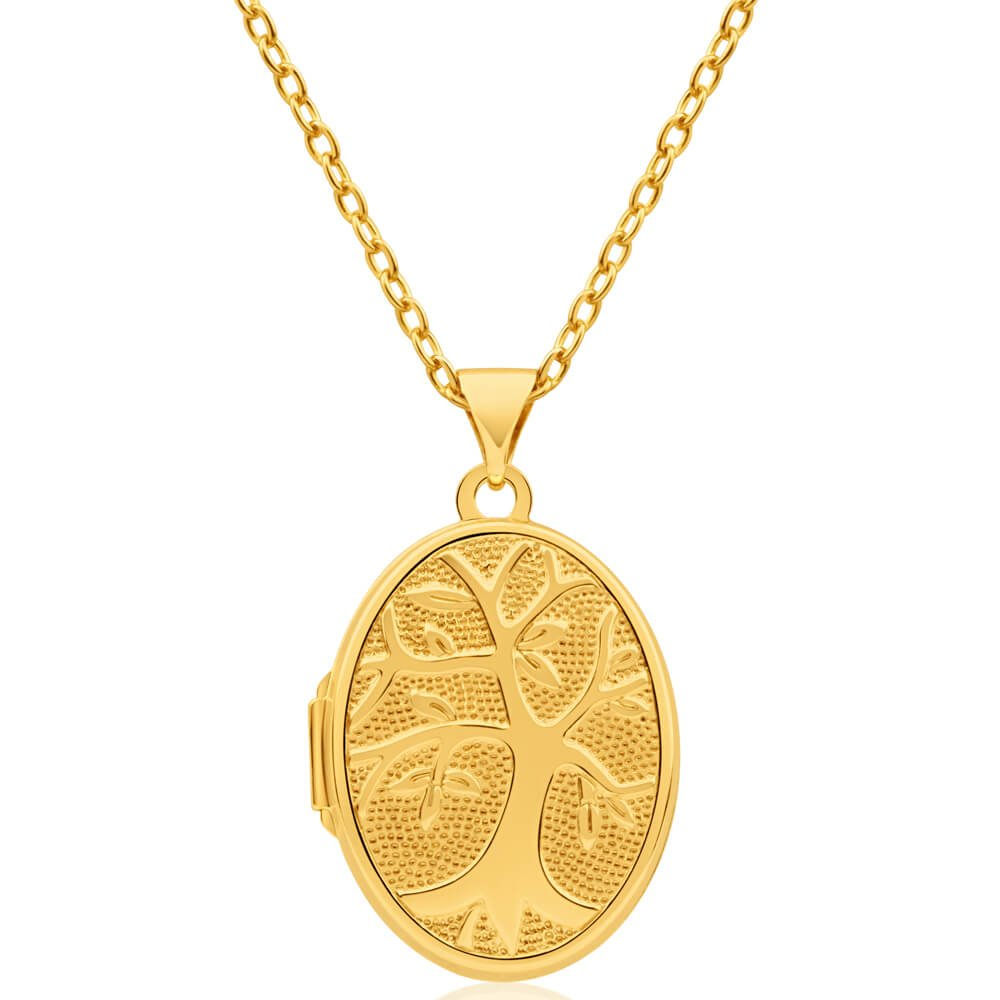 9ct Yellow Gold Silver Filled Tree of Life Oval Locket