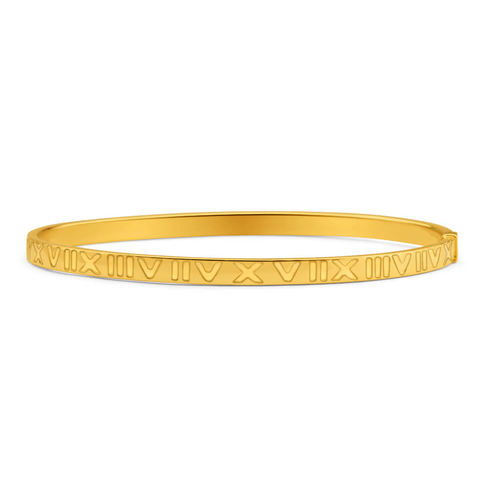 9ct Yellow Gold Silver Filled Roman Numeral Bangle