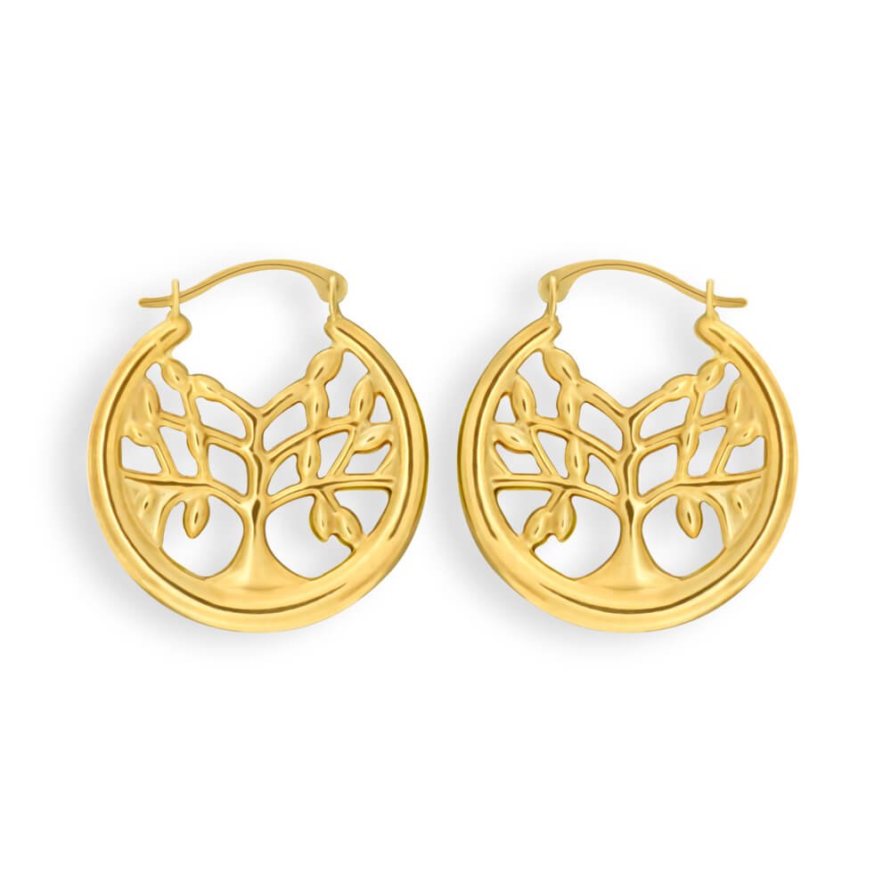 9ct Yellow Gold Silver Filled Tree of Life Creole Hoop Earrings