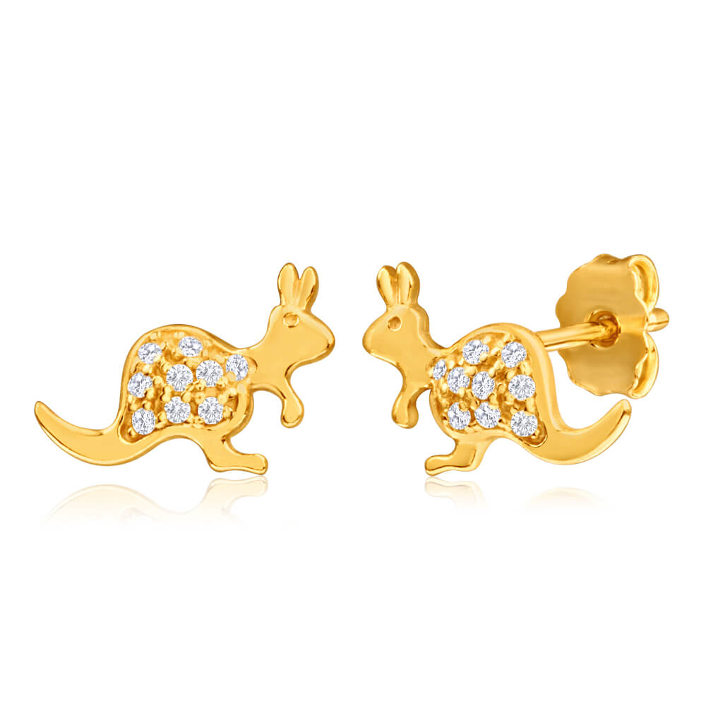 9ct Yellow Gold Silver Filled Cubic Zirconia Kangaroo Shape Stud Earrings