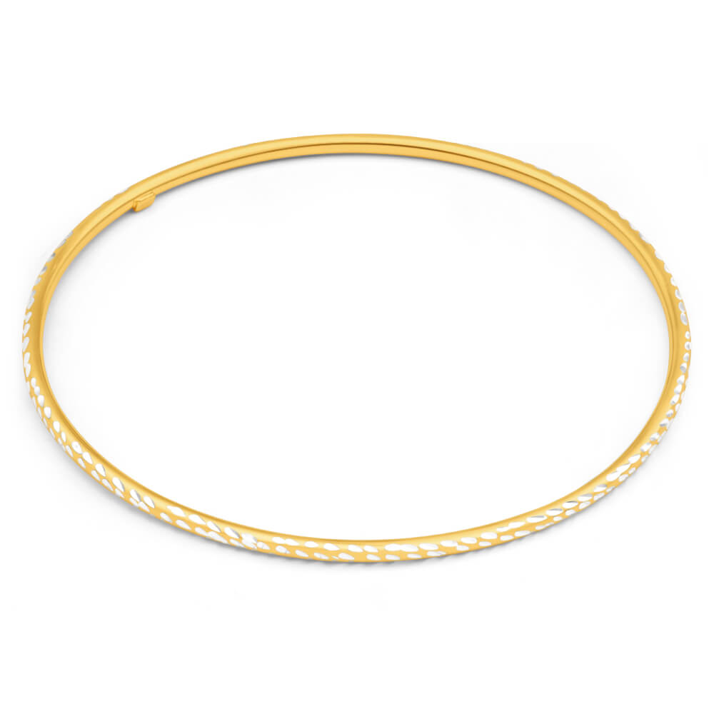 9ct Yellow Gold Silver Filled 2mm By 65mm Bangle