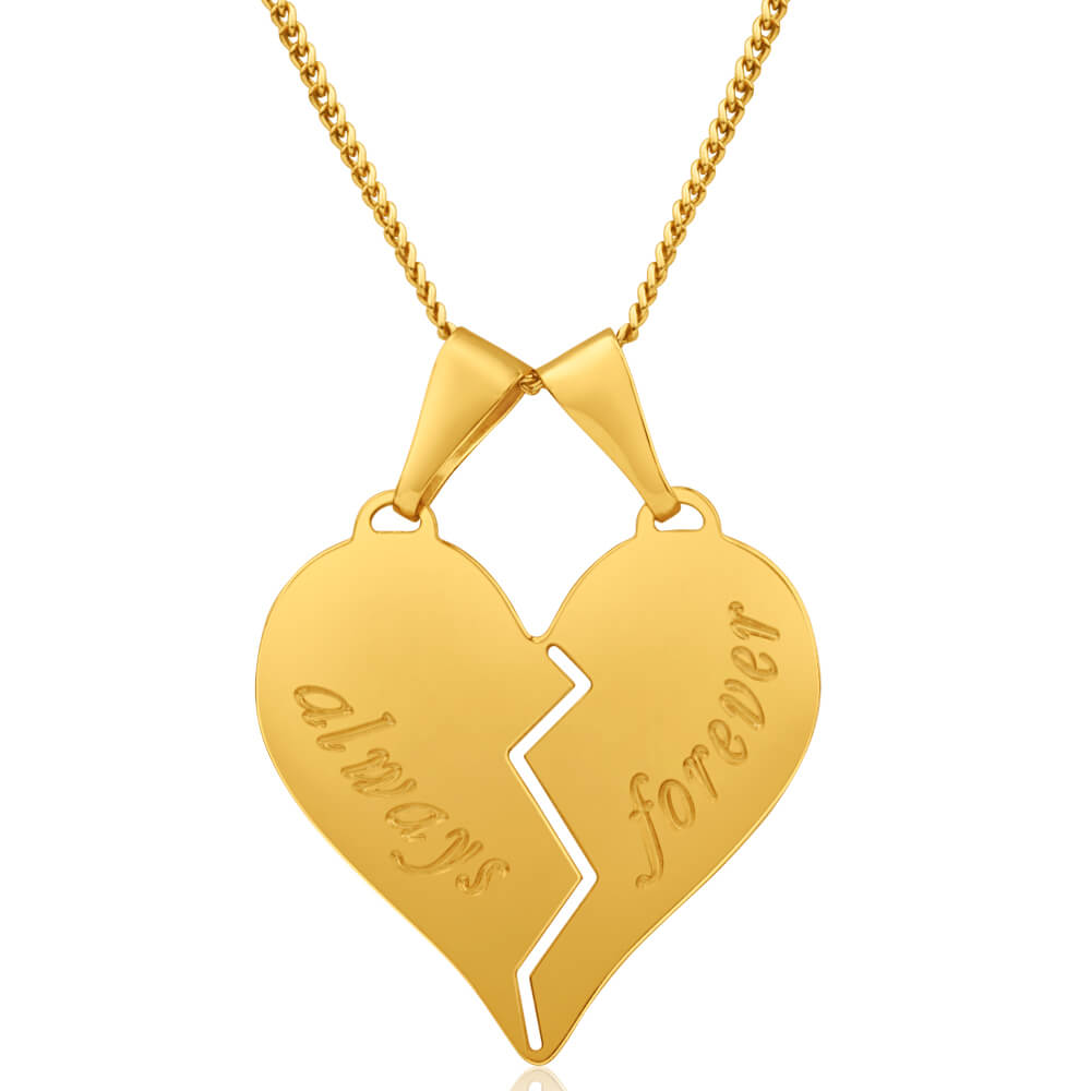 9ct Yellow Gold Silver Filled Always Forever Pendant