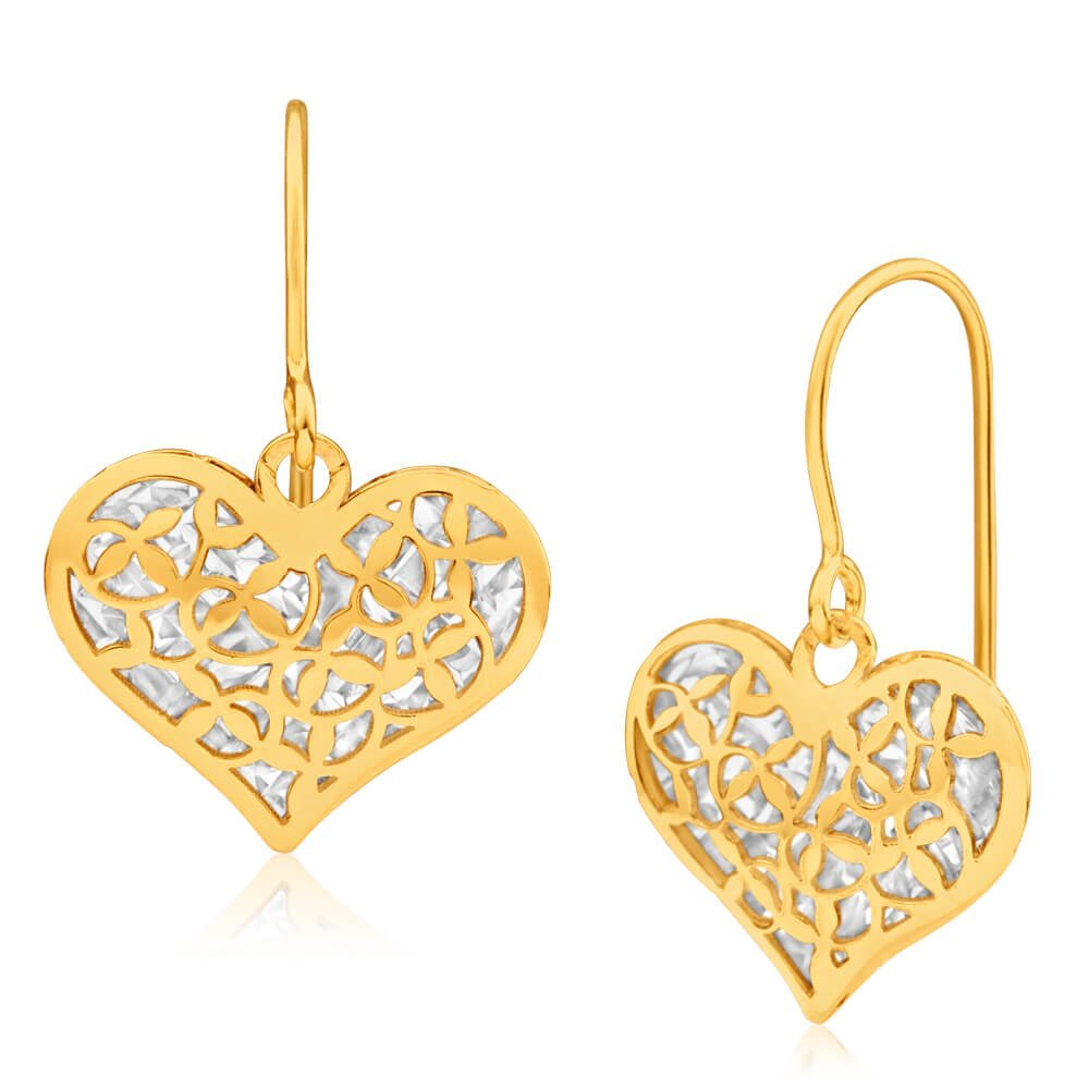 9ct Yellow Gold Silver Filled Heart Drop Earrings