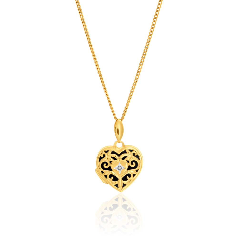 9ct Yellow Gold Silver Filled Diamond Set Heart Shaped Filigree Locket