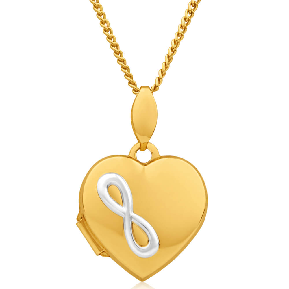 9ct Yellow Gold Silver Filled Two Tone Infinity Heart Shape Locket