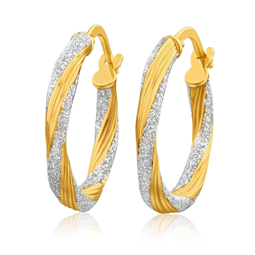 9ct Yellow Gold Silver Filled Stardust 15mm Hoop Earrings