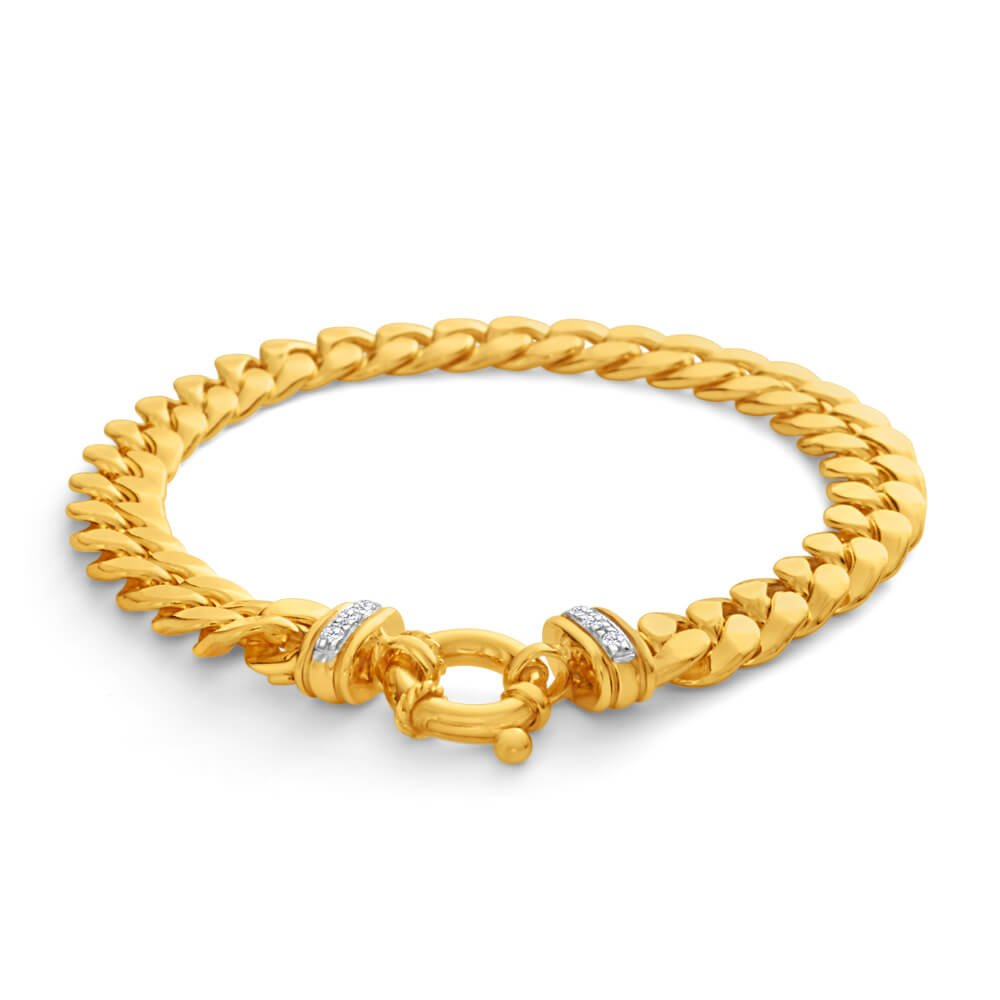 9ct Yellow Gold Silver Filled Zirconia Curb Bracelet