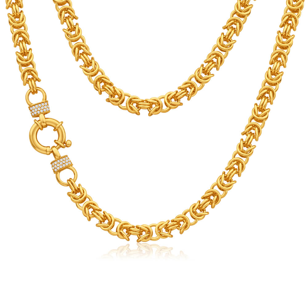 9ct Yellow Gold Silver Filled Zirconia Byzantine Chain