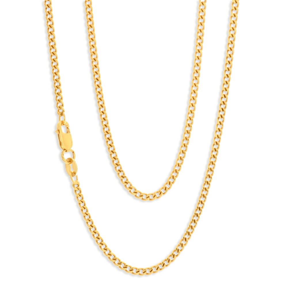 9ct Yellow Gold Silver Filled 45cm Curb Chain