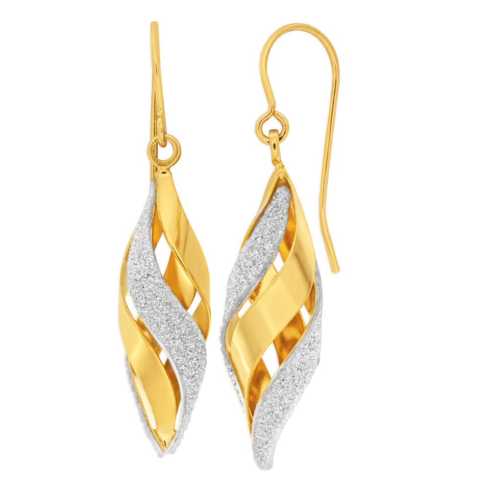 9ct Yellow Gold Silver Filled Stardust Twist Cage Drop Earrings