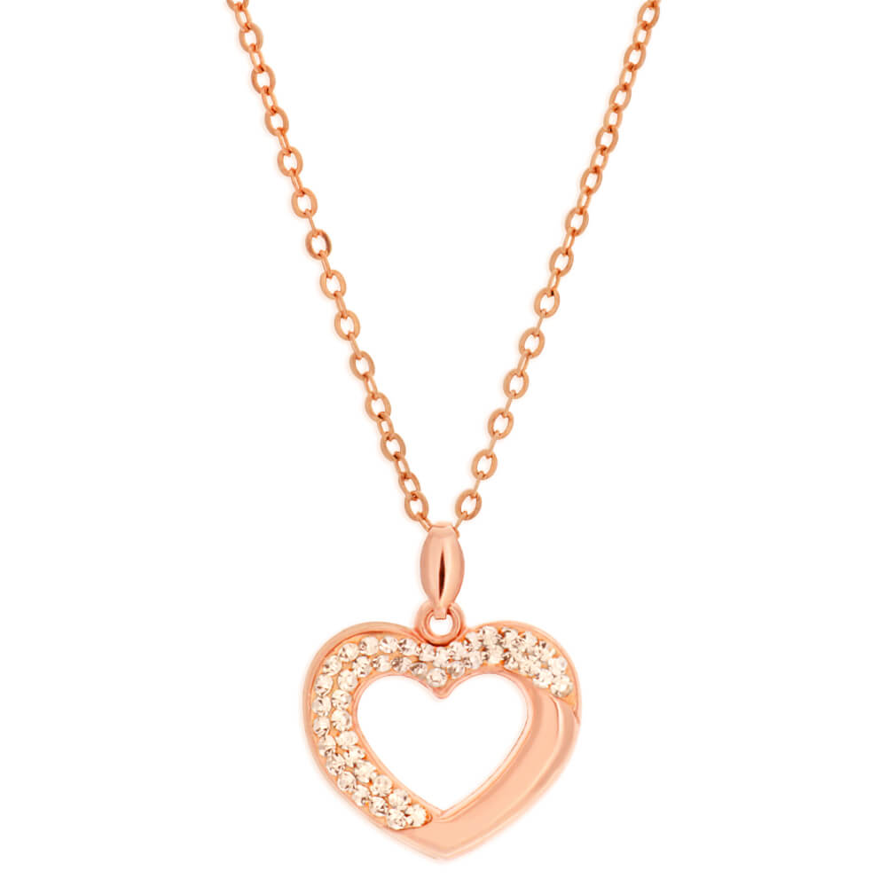 9ct Yellow Gold Silver Filled Crystal Heart Pendant