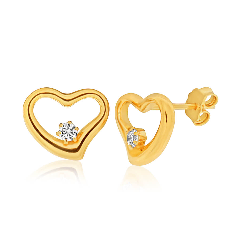 9ct Yellow Gold Silver Filled Cubic Zirconia Pretty Heart Stud Earrings