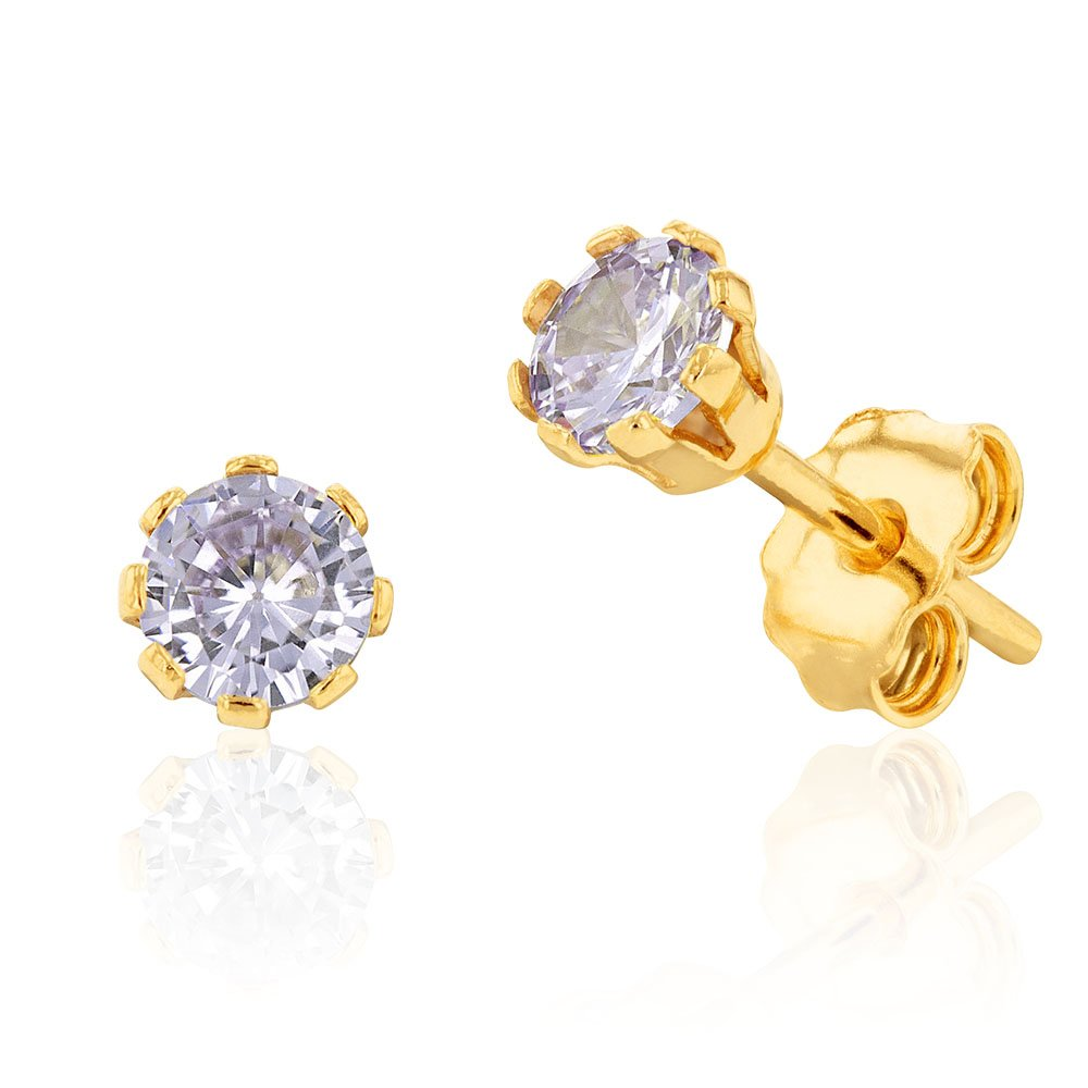 9ct Yellow Gold Silver Filled Cubic Zirconia Lavender 4mm Stud Earrings