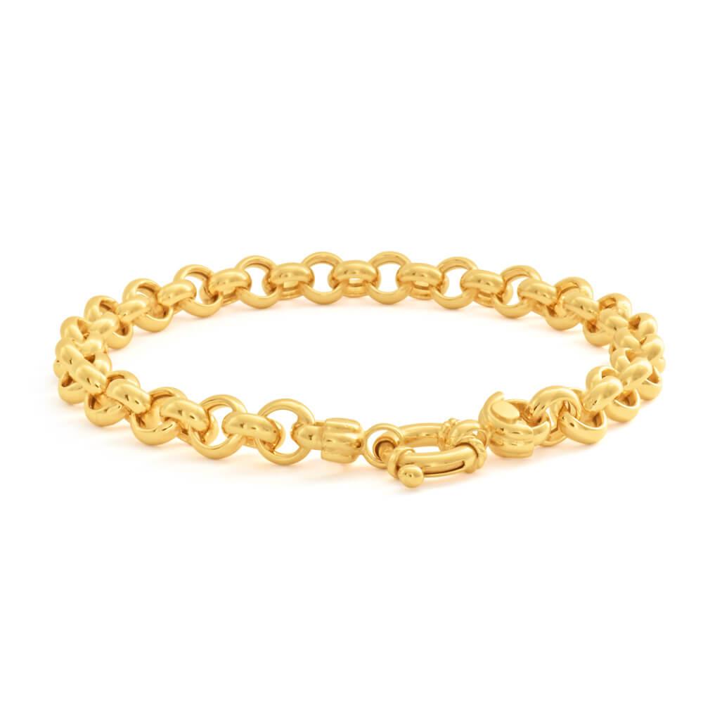 9ct Elegant Yellow Gold Silver Filled Belcher Bracelet