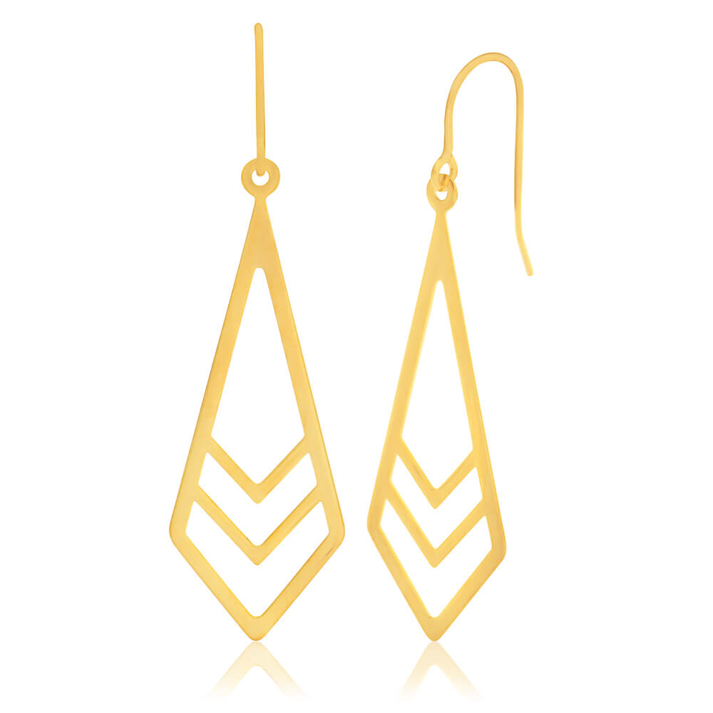 9ct Yellow Gold Silver Filled Long Geo Drop Earrings