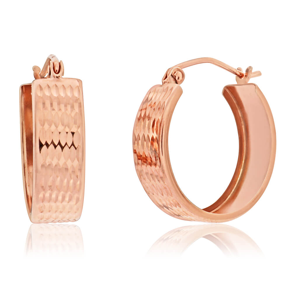 9ct Rose Gold Silver Filled Diamond Cut Hoop Earrings