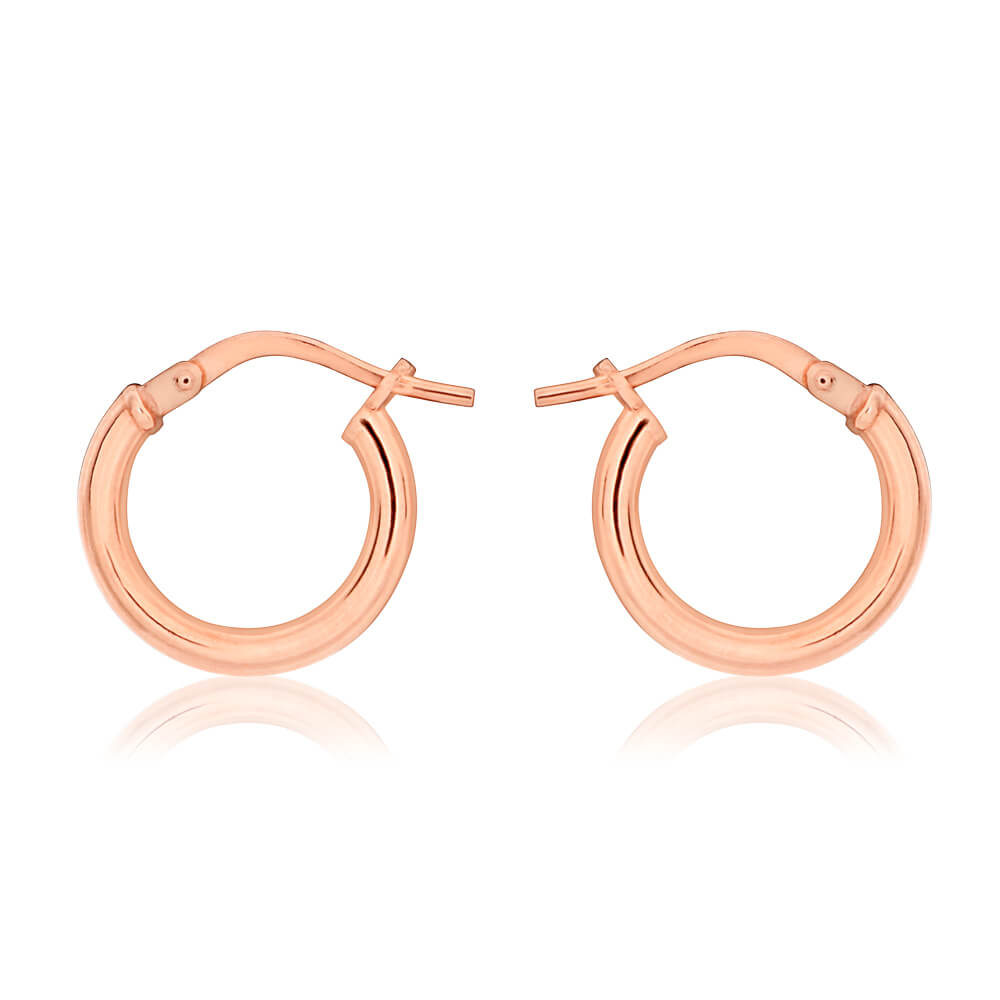 9ct Rose Gold Silver Filled 10mm Hoop Earrings