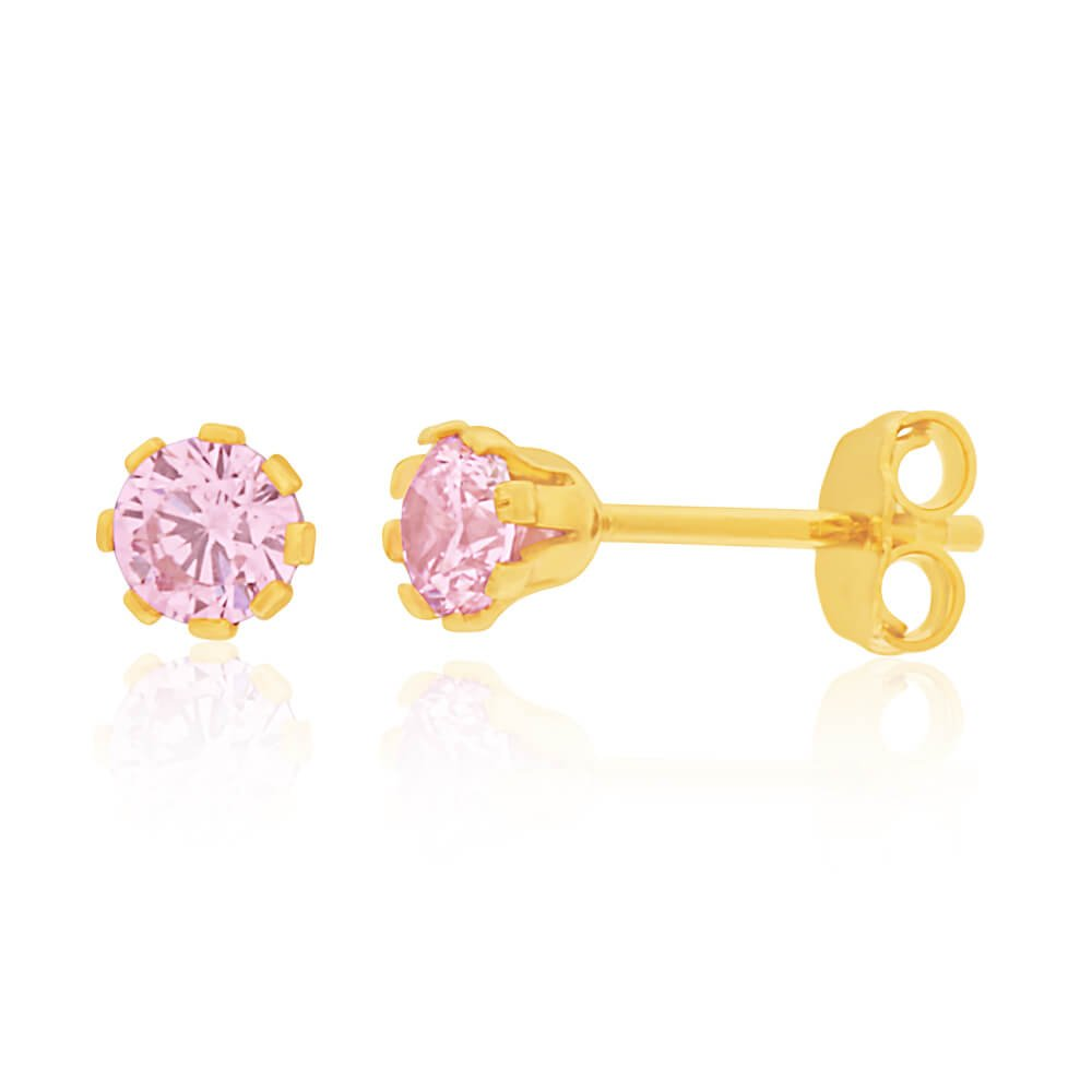 9ct Yellow Gold Silver Filled Pink Cubic Zirconia Stud Earrings