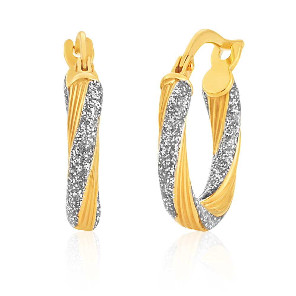 9ct Yellow Gold Silver Filled Twist 10mm Enamel Stardust Hoop Earrings