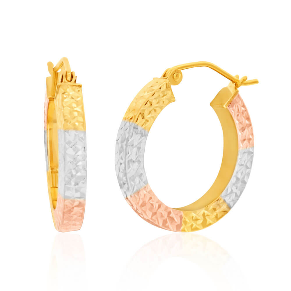 9ct Mutlitone Gold Silver Filled Square Hoops Earrings