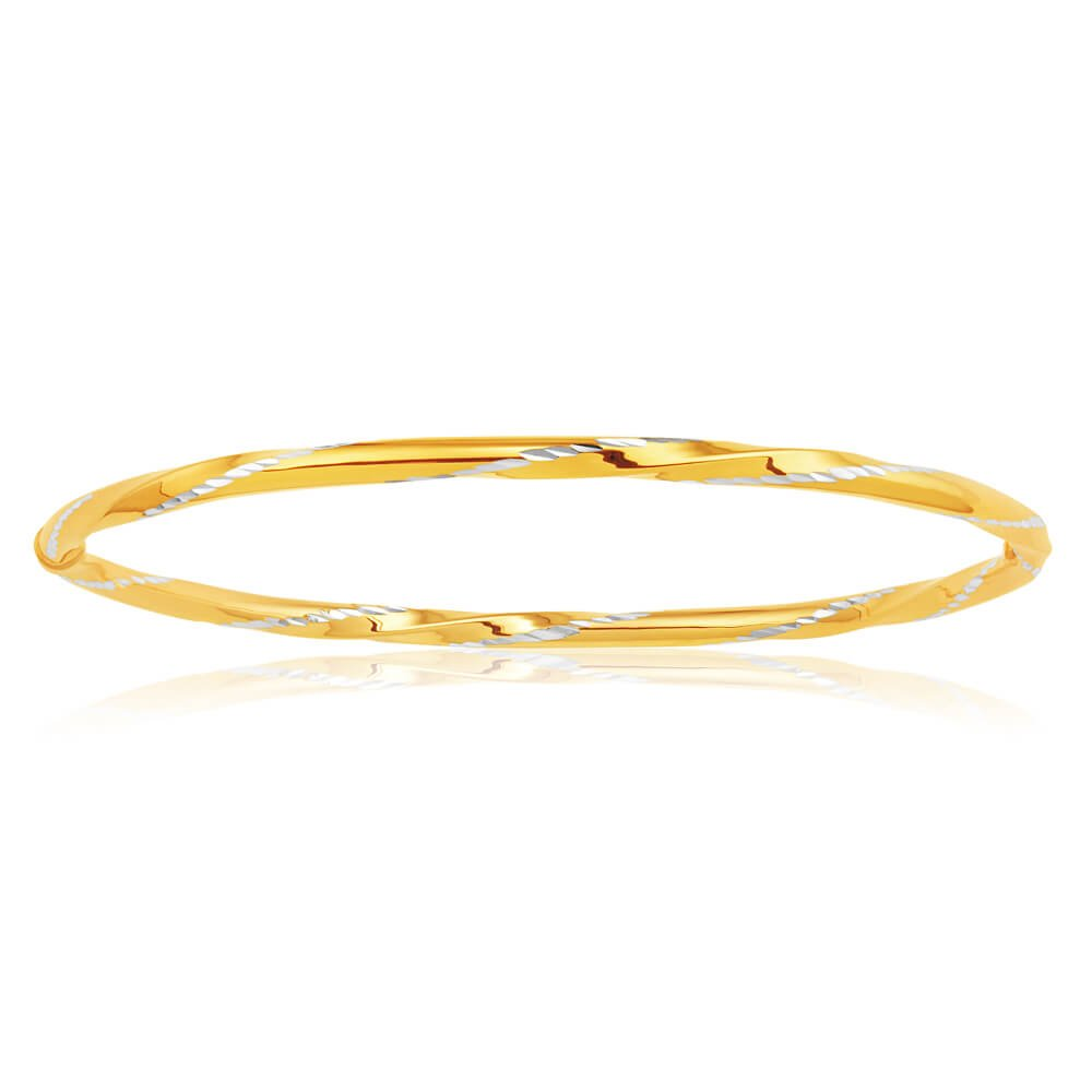 9ct Yellow Gold Silver Filled Bangle 65mm