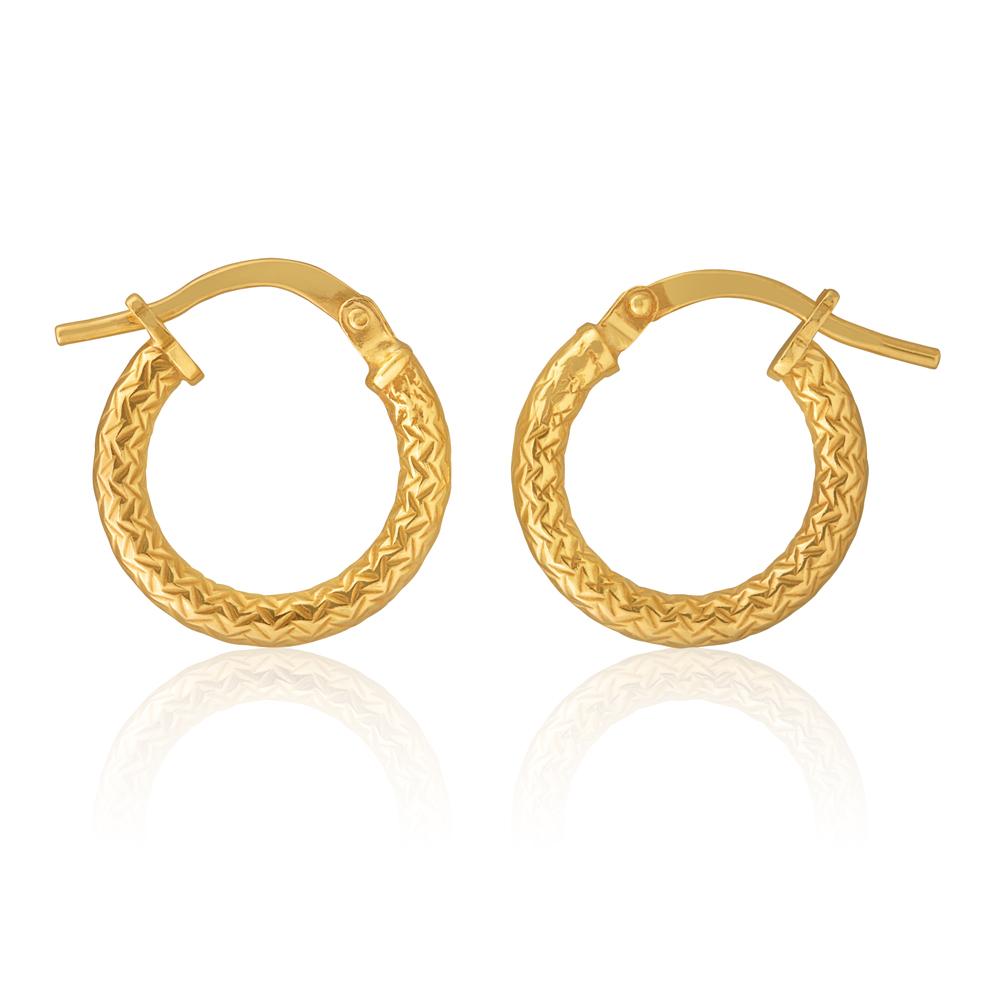 9ct Yellow Gold Silver Filled Diamond Cut 10mm Hoop Earrings