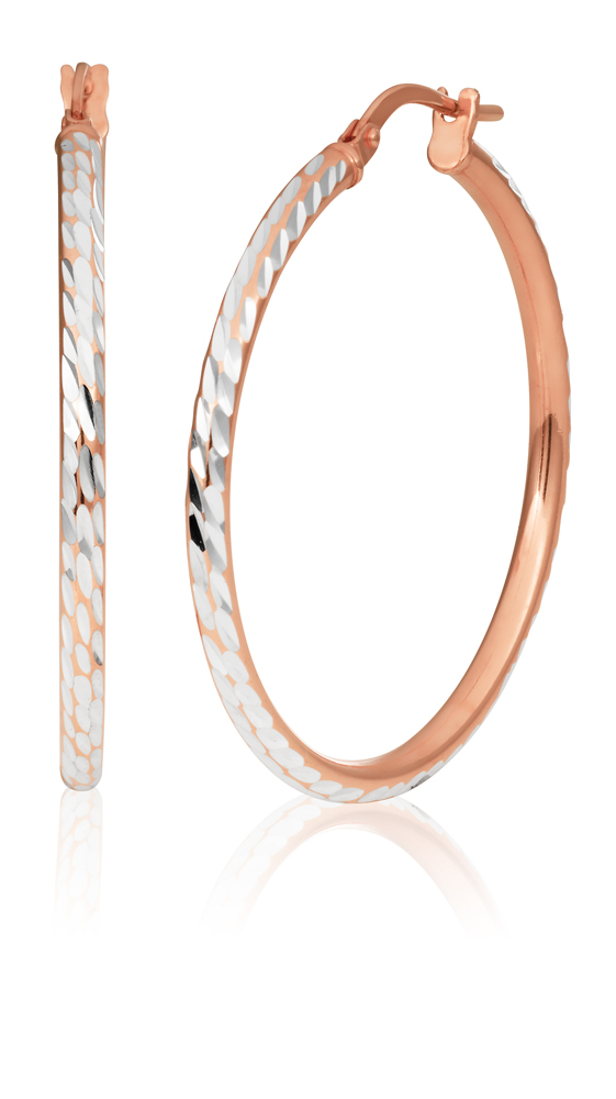 9ct Rose Gold Silver Filled 2x30mm Fancy Hoop Earrings