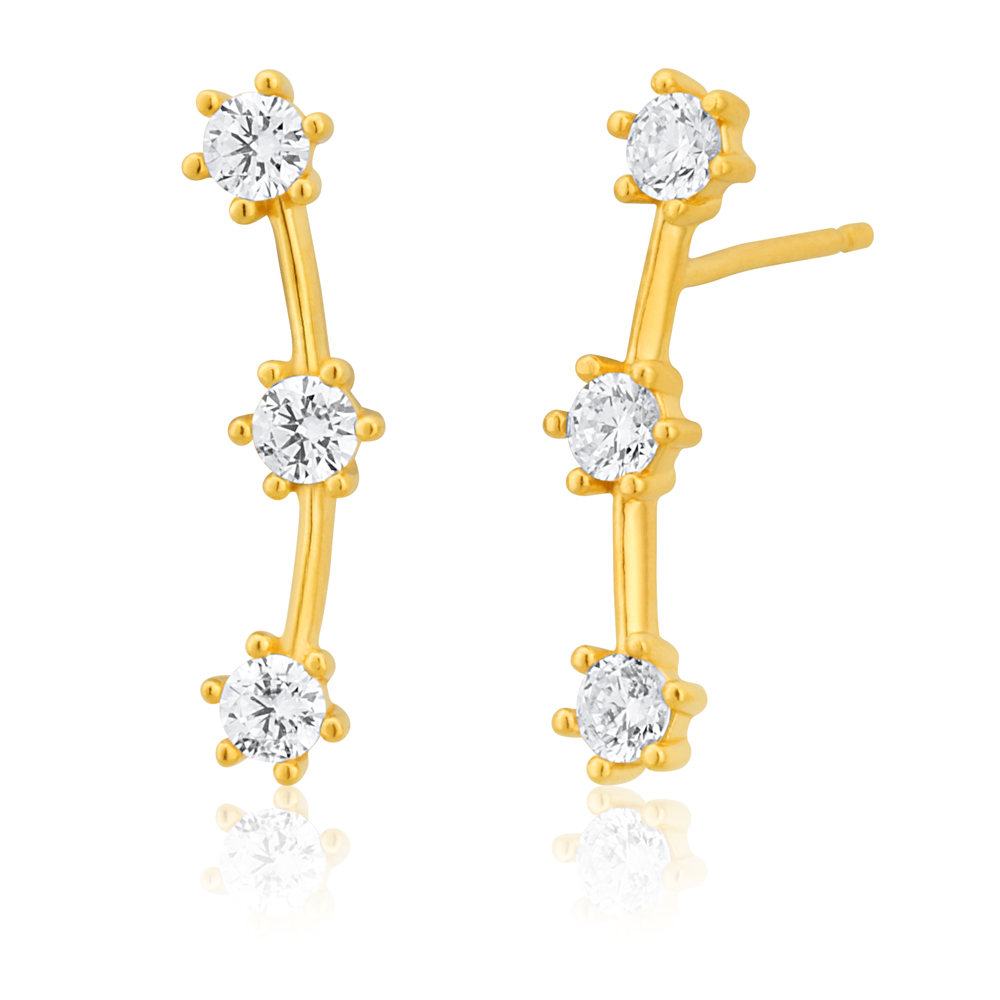 9ct Yellow Gold Silver Filled 3 Stars Ear Climber