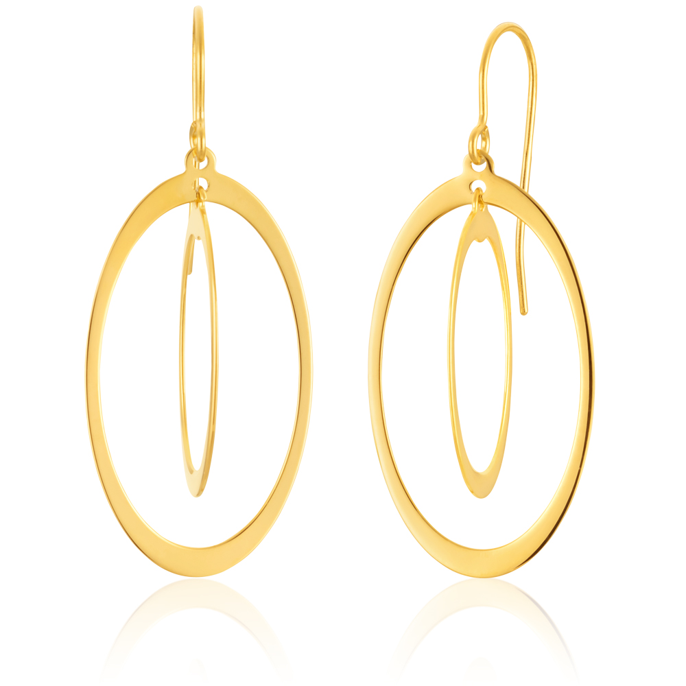 9ct Yellow Gold  Silver Filled Duo dangling Circle Drop Earrings