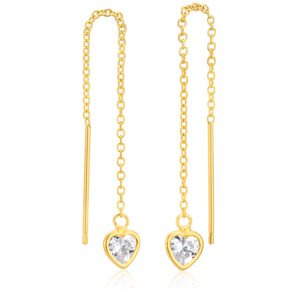 9ct Gold Silverfilled CZ Heart Threads Earrings