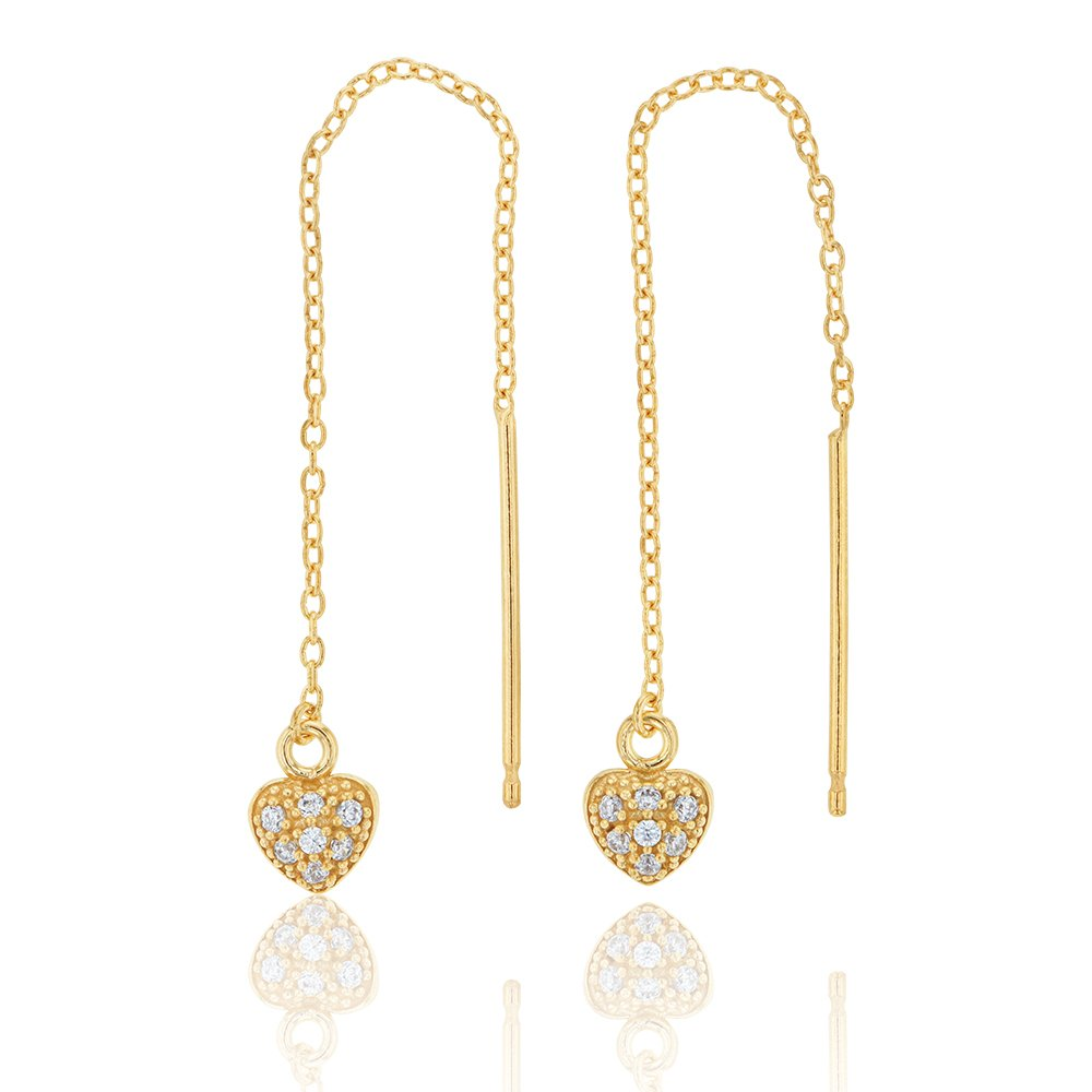 9ct Yellow Gold Silver filled Cubic Zirconia Heart Thread Earrings