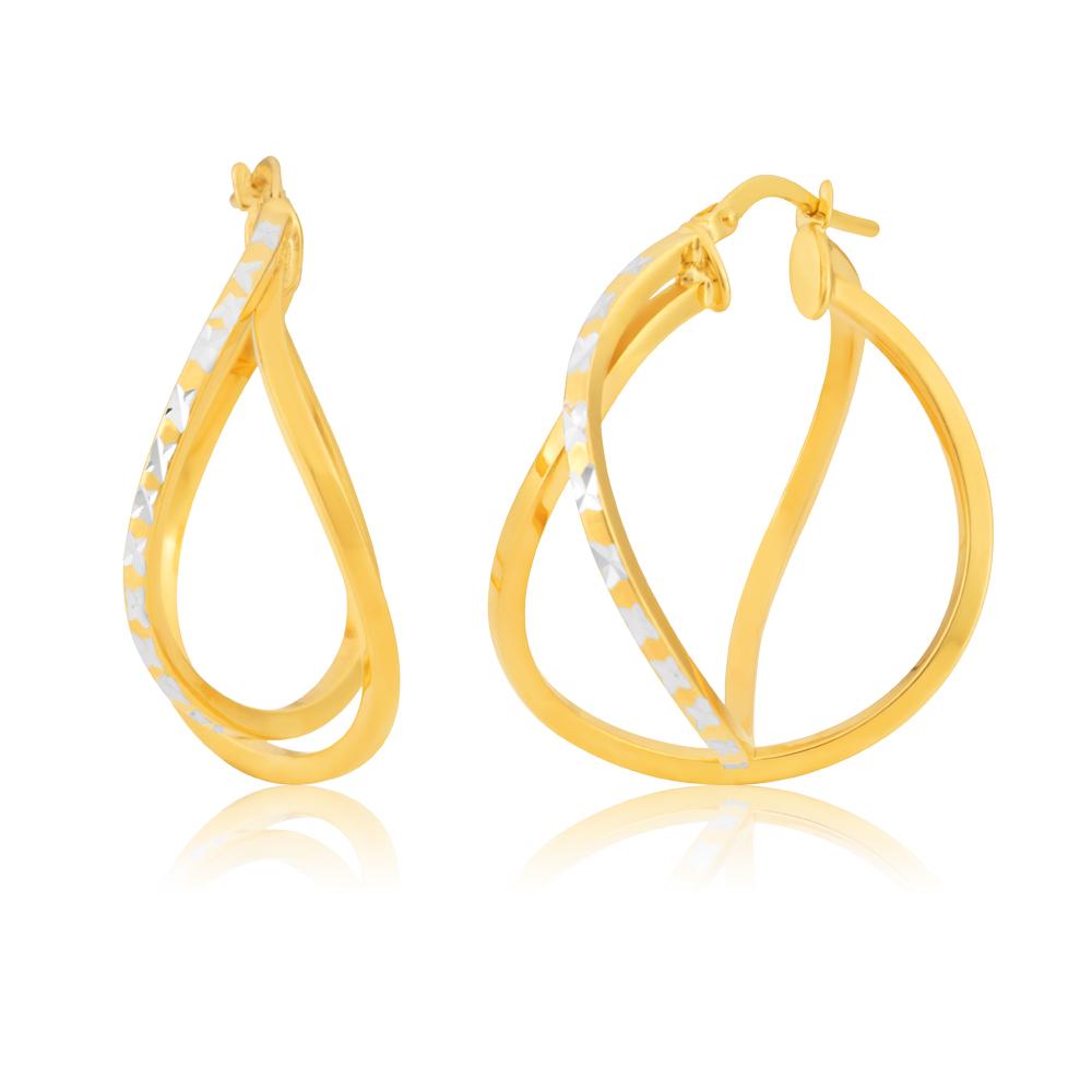 Silverfilled 9ct Two-Tone Diamond-Cut Fancy 25mm Hoop Earrings