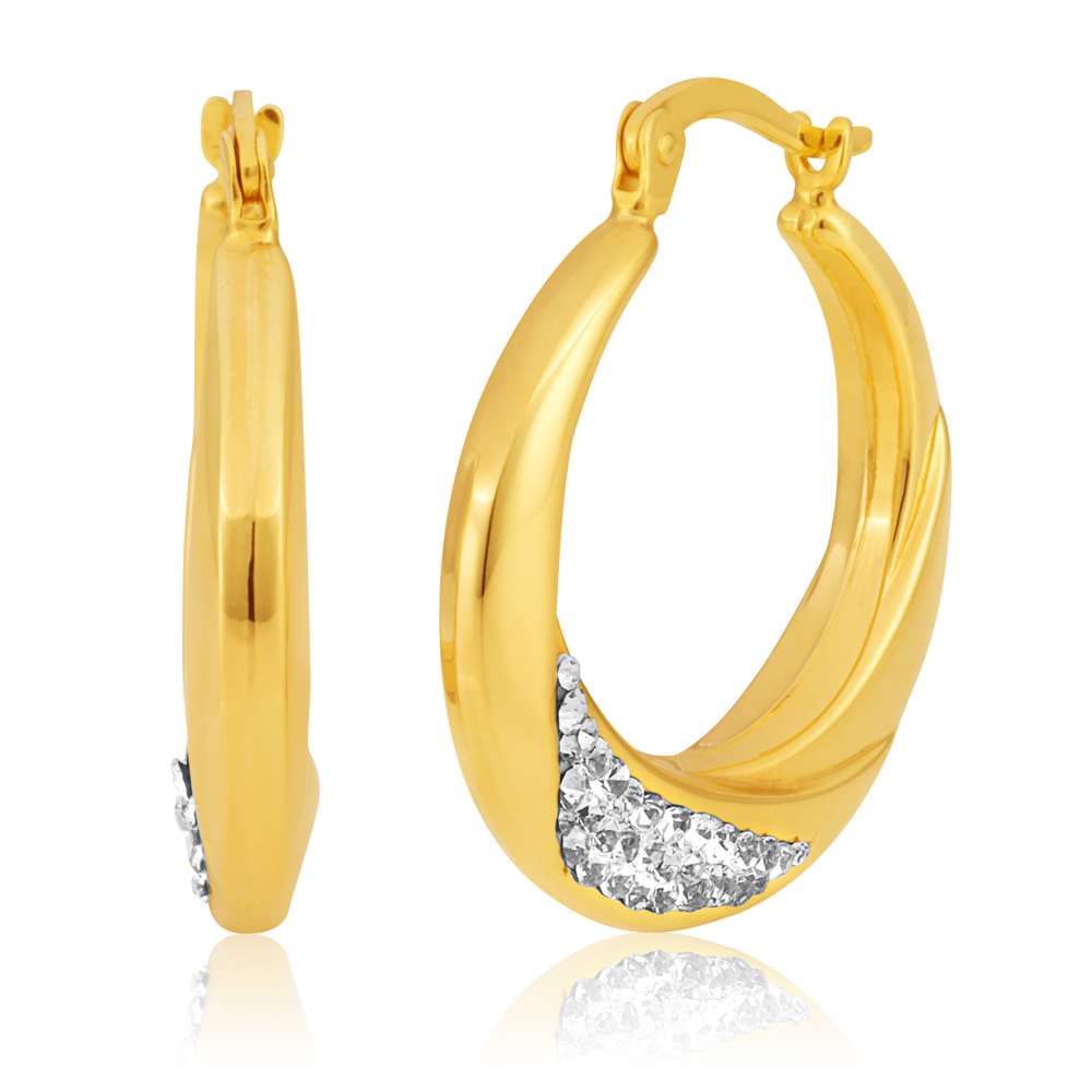 9ct Yellow Gold Silverfilled Crystal Hoop Earrings