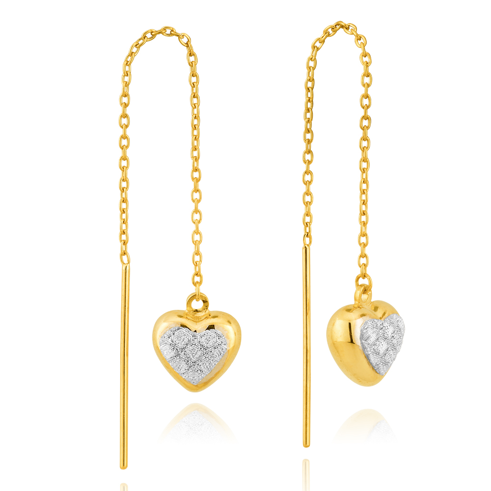 9ct Yellow Gold Stardust Heart Thread Silverfilled Earrings
