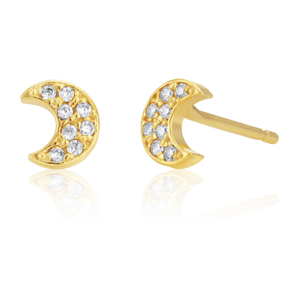 9ct Gold Filled Cubic Zirconia Moon Shape Stud Earrings
