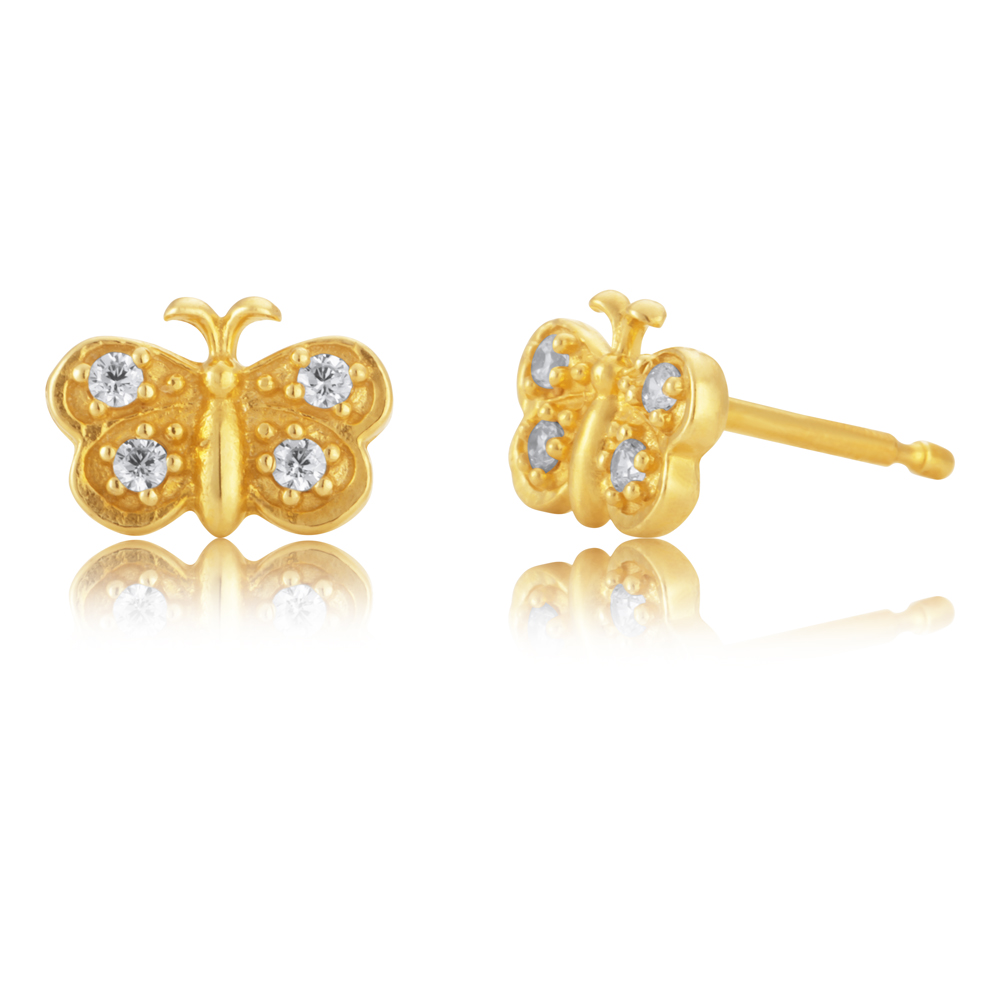 9ct Gold Filled Cubic Zirconia Butterfly Shape Stud Earrings
