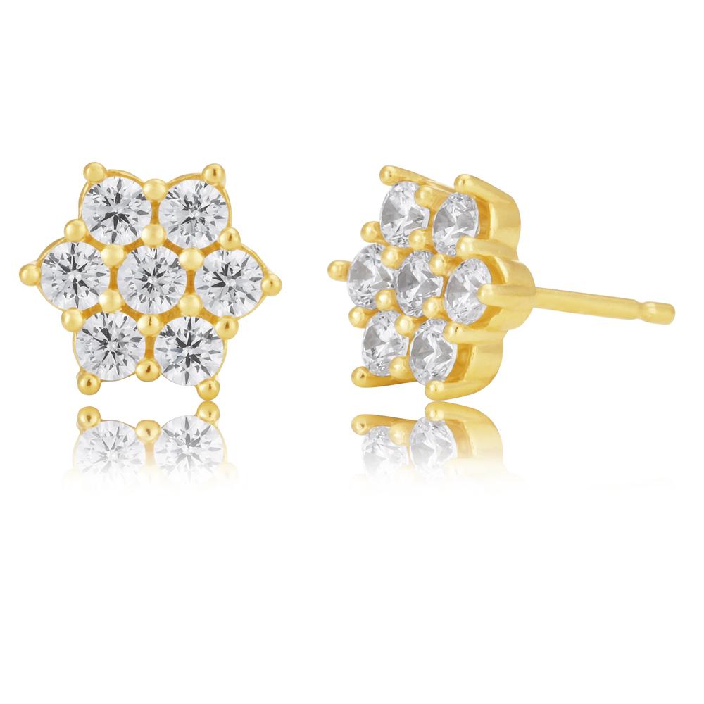 9ct Gold Filled Cubic Zirconia Flower Shape Stud Earrings