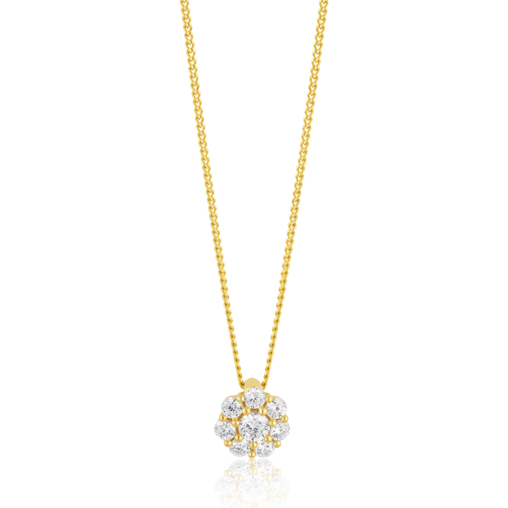 9ct Gold Filled Cubic Zirconia Cluster Flower Pendant