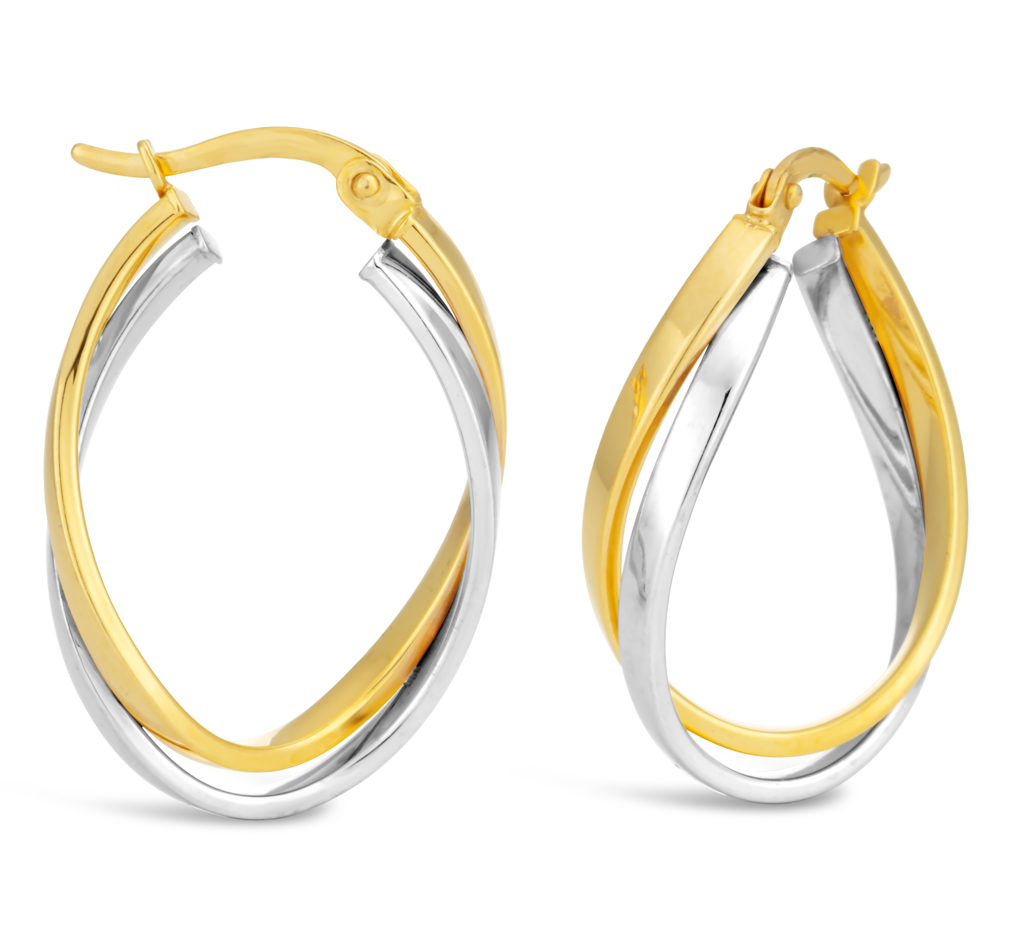 9ct Two-Tone Gold Filled Double Tube Hoop Earrings