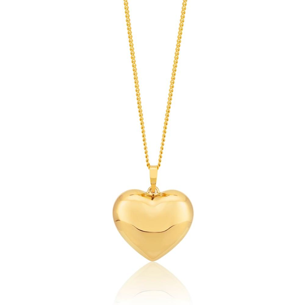 9ct Yellow Gold Filled Plain Heart Pendant