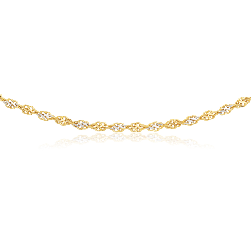 9ct Two-Tone Gold Filled 45cm Singapore Link Chain