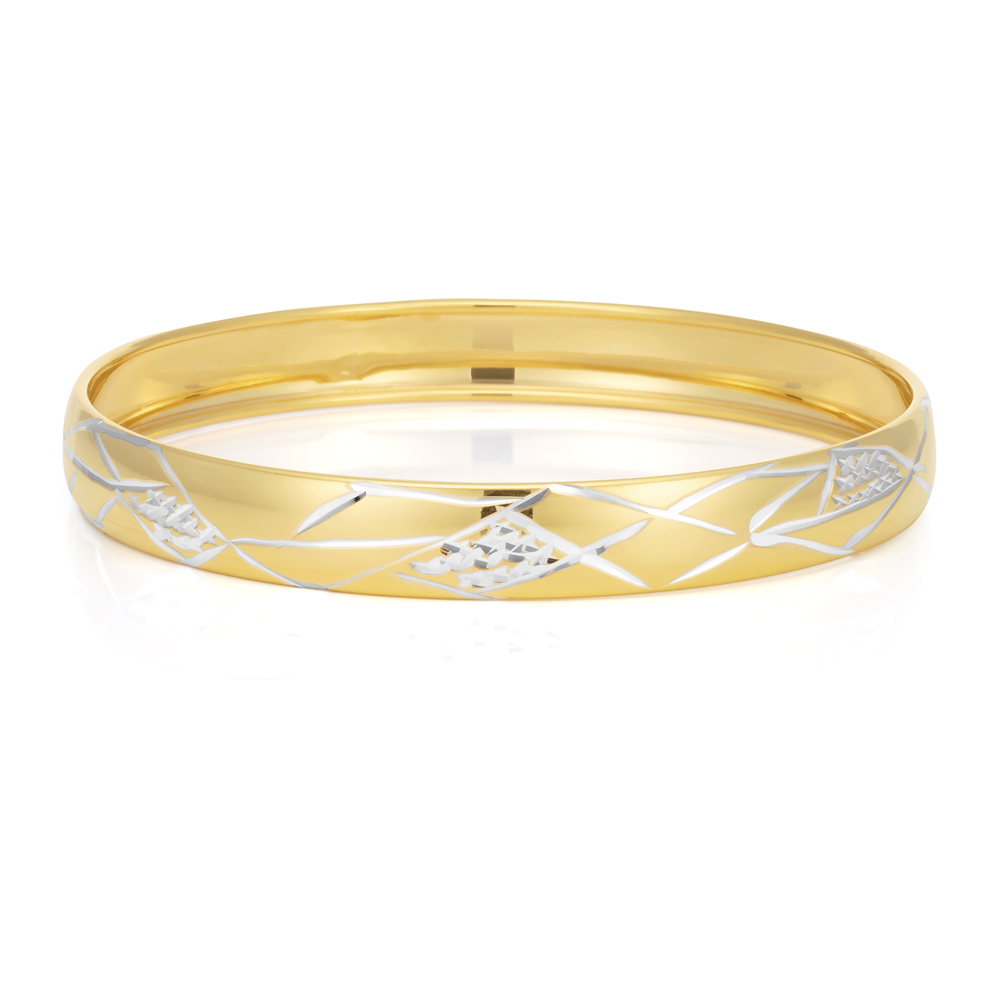 9ct Two-Tone Gold Filled Diamond Cut Bangle